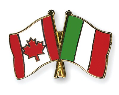Special Offer Crossed Flag Pins Canada-Italy