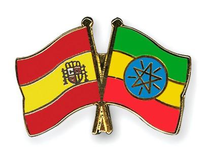 Crossed Flag Pins Spain-Ethiopia