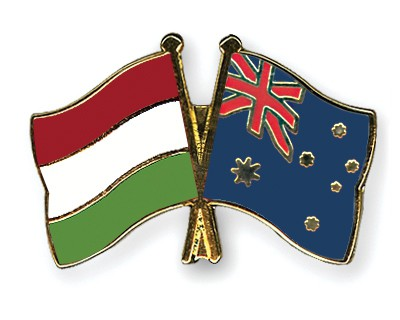 Special Offer Crossed Flag Pins Hungary-Australia
