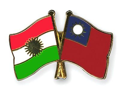 Crossed Flag Pins Kurdistan-Taiwan