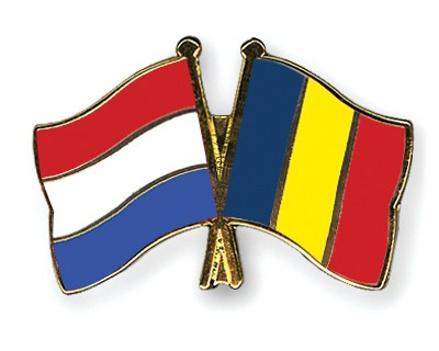 Special Offer Crossed Flag Pins Netherlands-Romania