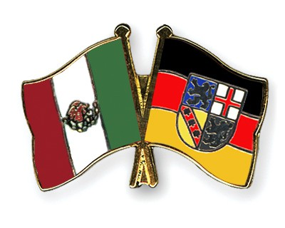 Crossed Flag Pins Mexico-Saarland