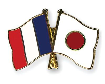 Crossed Flag Pins France-Japan