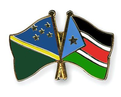 Crossed Flag Pins Solomon-Islands-South-Sudan
