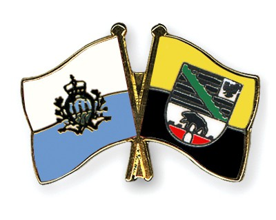 Crossed Flag Pins San-Marino-Saxony-Anhalt