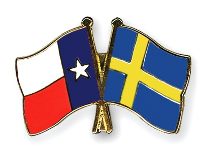 Crossed Flag Pins Texas-Sweden