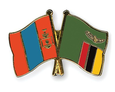 Crossed Flag Pins Mongolia-Zambia