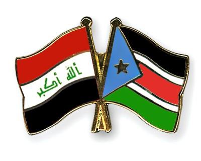 Crossed Flag Pins Iraq-South-Sudan