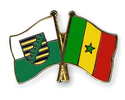 Crossed Flag Pins Saxony-Senegal
