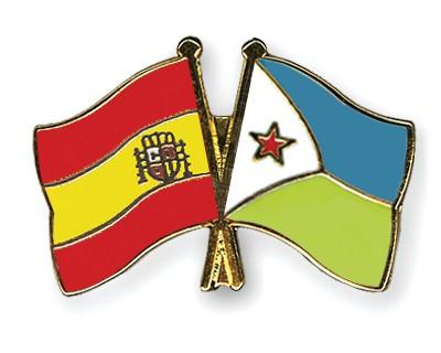 Crossed Flag Pins Spain-Djibouti