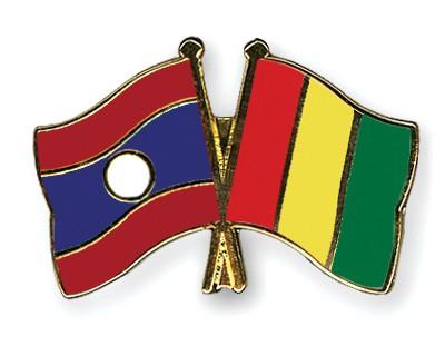 Crossed Flag Pins Laos-Guinea