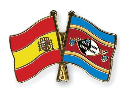 Crossed Flag Pins Spain-Swaziland
