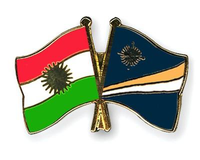 Crossed Flag Pins Kurdistan-Marshall-Islands