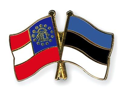 Crossed Flag Pins Georgia-Estonia