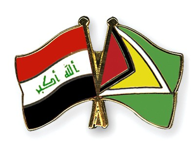 Crossed Flag Pins Iraq-Guyana