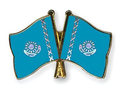 Crossed Flag Pins Kazakhstan-Kazakhstan