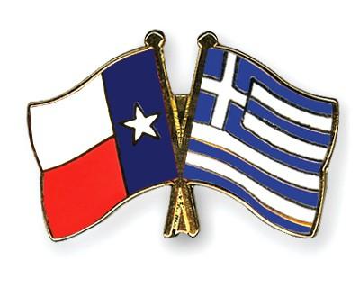 Crossed Flag Pins Texas-Greece