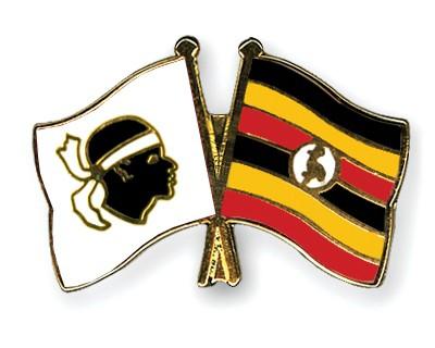 Crossed Flag Pins Corsica-Uganda