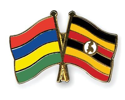 Crossed Flag Pins Mauritius-Uganda