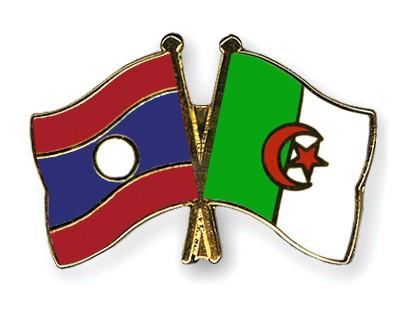 Crossed Flag Pins Laos-Algeria