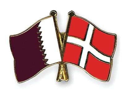 Special Offer Crossed Flag Pins Qatar-Denmark