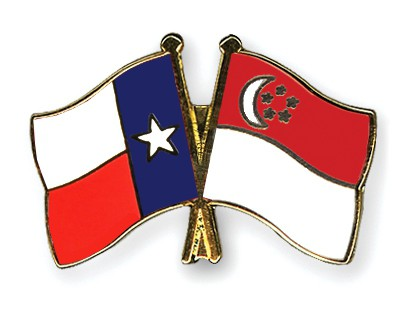 Crossed Flag Pins Texas-Singapore