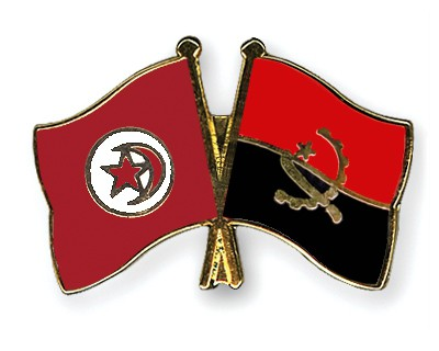 Crossed Flag Pins Tunisia-Angola