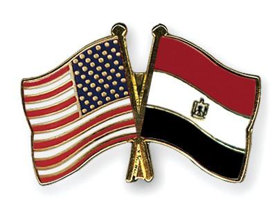 Crossed Flag Pins USA-Egypt