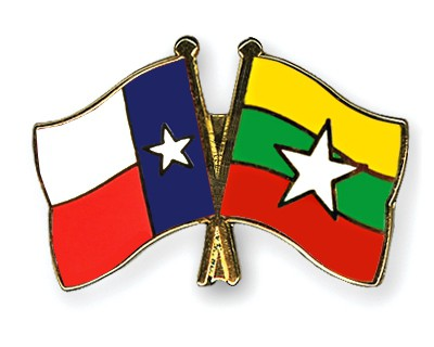 Crossed Flag Pins Texas-Myanmar