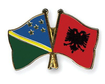Crossed Flag Pins Solomon-Islands-Albania