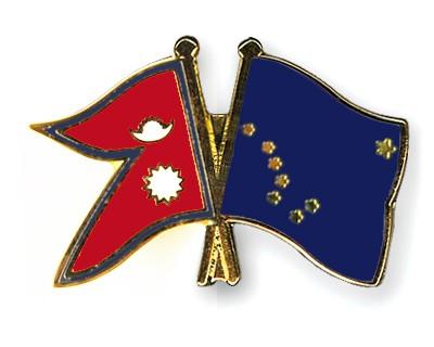 Crossed Flag Pins Nepal-Alaska
