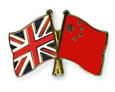 Crossed Flag Pins Great-Britain-China