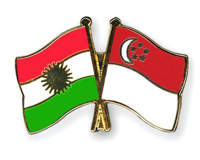 Crossed Flag Pins Kurdistan-Singapore