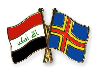 Crossed Flag Pins Iraq-Aland