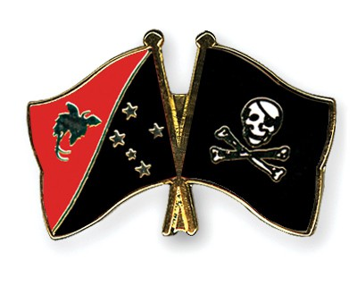 Crossed Flag Pins Papua-New-Guinea-Pirate-with-Bone