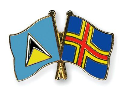 Crossed Flag Pins Saint-Lucia-Aland
