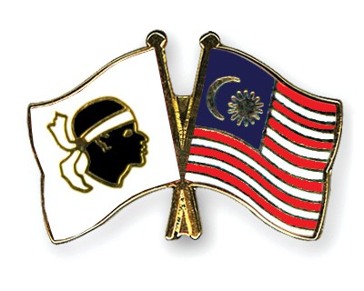 Crossed Flag Pins Corsica-Malaysia