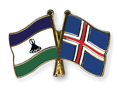 Crossed Flag Pins Lesotho-Iceland
