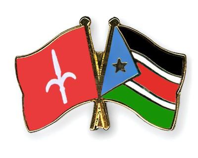 Crossed Flag Pins Trieste-South-Sudan