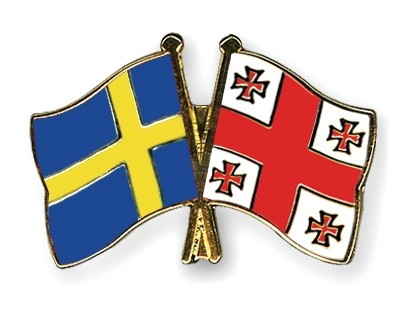Special Offer Crossed Flag Pins Sweden-Georgia