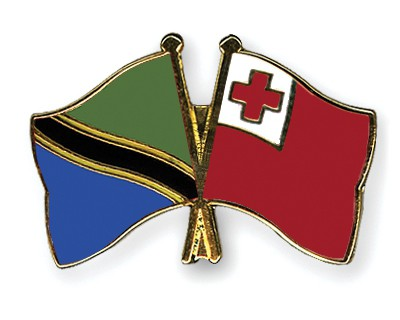 Crossed Flag Pins Tanzania-Tonga