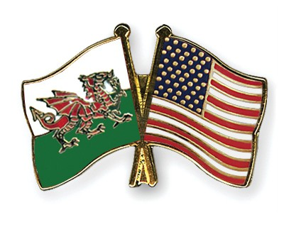 Special Offer Crossed Flag Pins Wales-USA