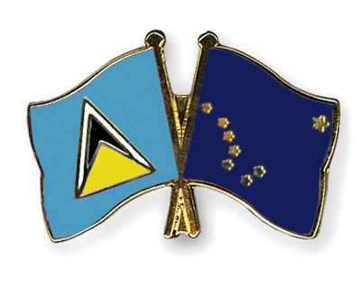 Crossed Flag Pins Saint-Lucia-Alaska