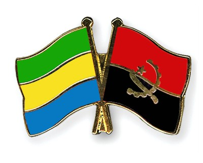 Crossed Flag Pins Gabon-Angola