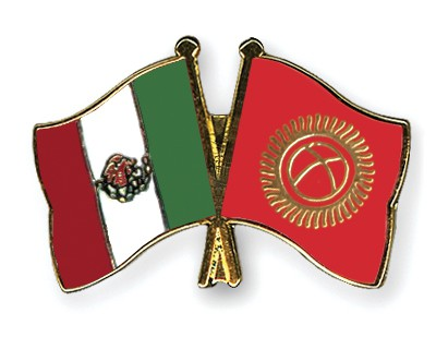 Crossed Flag Pins Mexico-Kyrgyzstan