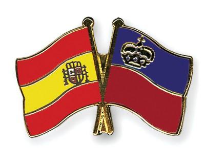 Crossed Flag Pins Spain-Liechtenstein