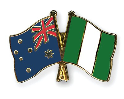 Crossed Flag Pins Australia-Nigeria