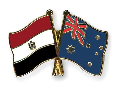 Crossed Flag Pins Egypt-Australia