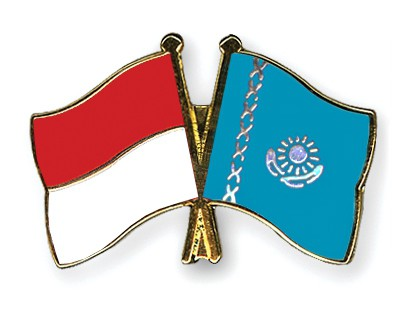 Special Offer Crossed Flag Pins Indonesia-Kazakhstan