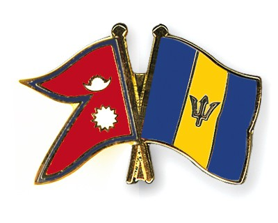 Crossed Flag Pins Nepal-Barbados